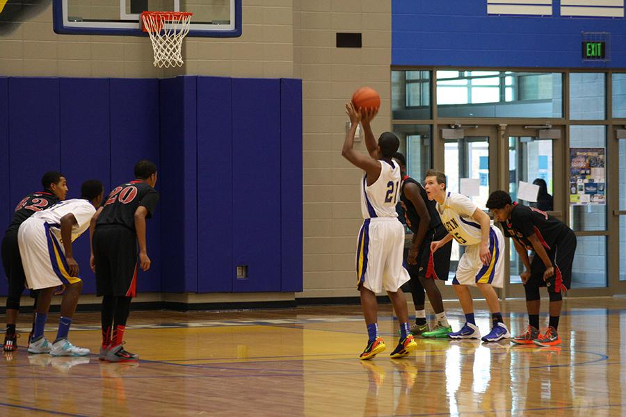 Sophomore Justin Moore shoots a free throw.