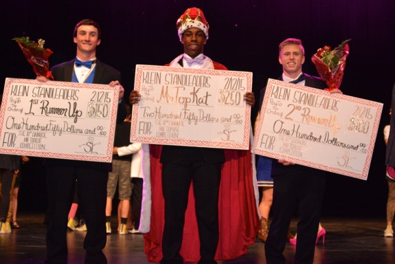 Finishing with the title of Mr. TopKat at the 10th annual Mr. TopKat Competition on Feb. 12 was senior Rodney Whitfield (center). The first runner-up was Alex Crowley (right), and the second runner-up was Kendall Jeffries (left). Photos by Katy Clark.