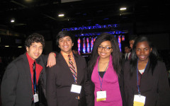 """From left to right- Junior Chris Paul, junior Nabeel Jawad, senior Kaija Clinton, and junior Riquanda Walker at DECA's state competition. """"I felt great knowing that my hard efforts paid off and am now able to challenge myself,""""  said Jawad."""