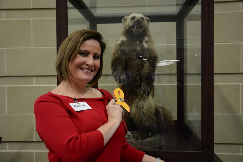 Associate principal Nicole Patin stands with the Bearkat, Warriors ribbon in hand. Patin will move to Doerre Intermediate as principal on January 5, leaving Klein after three years. Photo by Carlie Byrne.