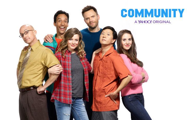 Revived at the final hour by Yahoo! Screen, Community is set to premiere on Mar. 17. The cast from left to right: Jim Rash as Dean Pelton, Danny Pudi as Abed Nadir, Gillian Jacobs as Britta Perry, Joel McHale as Jeff Winger, Ken Jeong as Ben Chang, and Allison Brie as Annie Edison. Photo credit to Bing.
