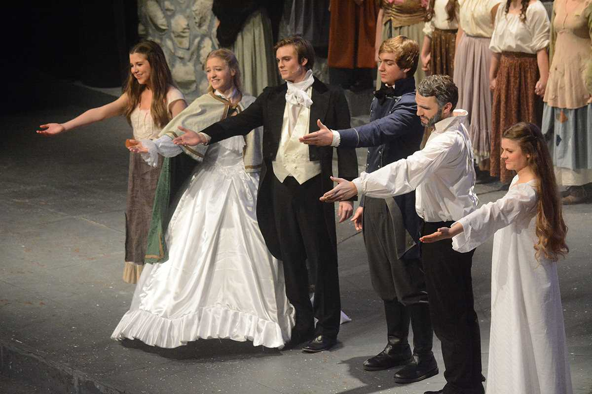 Part of the cast of Les Misérables at  the conclusion of one of the performances.