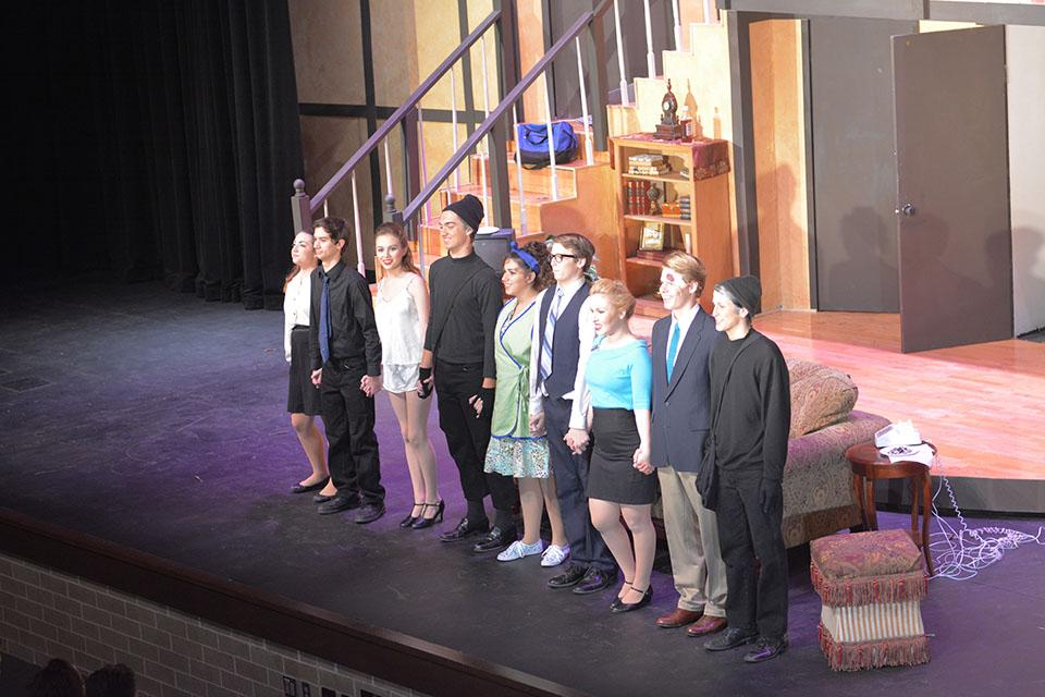 Cast of Noises off From left to right-  Cassidy D'Agostino , Brayden Lander, Megan Hess, Ian Tonroy, Lauren Domino, Nicholas Lammey, Sarah Harter, Nathanael Duty, Ryan Esparza