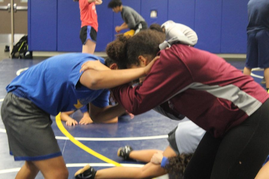 Seniors Xochitl Mota-Pettis and Tianna McDaniel face off during practice.
