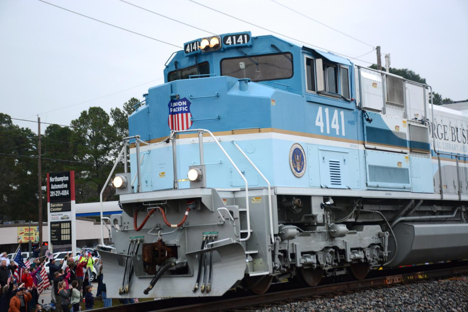 The special Bush 4141 Train passes by Klein Oak on Dec. 6 on its way to College Station.