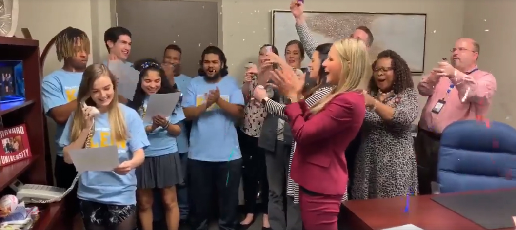 The Klein5 Ambassadors share the news with students and staff that Klein HS was named a State School of Character, the only high school in Texas to receive the honor in 2019.