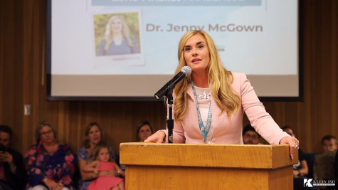 Dr. Jenny McGown gives acceptance speech after being awarded the position of lone of superintendent.