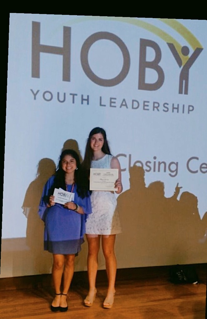 Abigail and Carla receiving their HOBY certificates