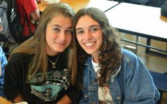 Paola Carraro and Aurora Rigamontii enjoy lunch together.  Rigamontii and Carraro are from Italy.