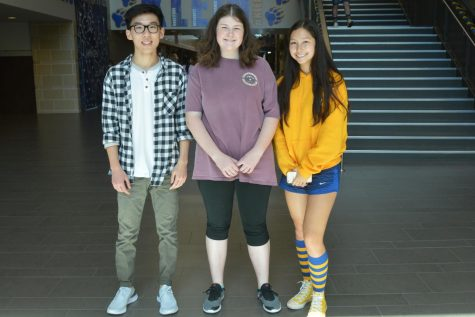 Seniors and National Merit Scholar Semifinalists Andy Zhou, Emma Swanson and Jasmine Vonk.