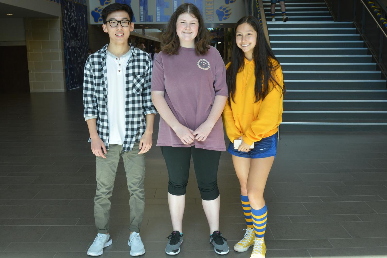 Seniors and National Merit Scholar Semifinalists Andy Zhou, Emma Swanson and Jasmine Vonk.