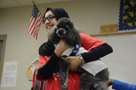 Junior Amber Kurshi hold one of angel paws therapy dogs during the Mental Health fair