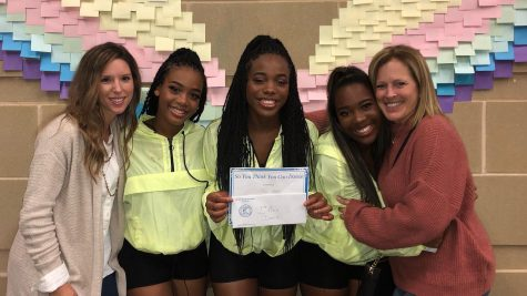 Winners of the So You Think You Can dance portion of the competition, juniors Kiresten Laventon, Nelley Ihieri, and Shyairia Newton pose with Kelly Brenham and Kathrine Dean.