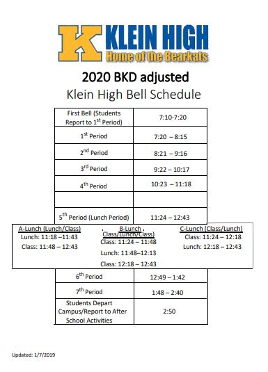 New Bell Schedule for Week of 1/13/2020