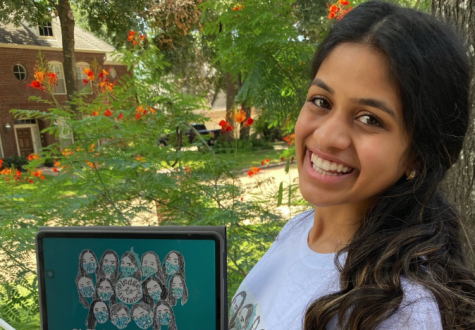 Bearkat senior, Sneha Shenoy, with some of her artwork for Pledge To Distance