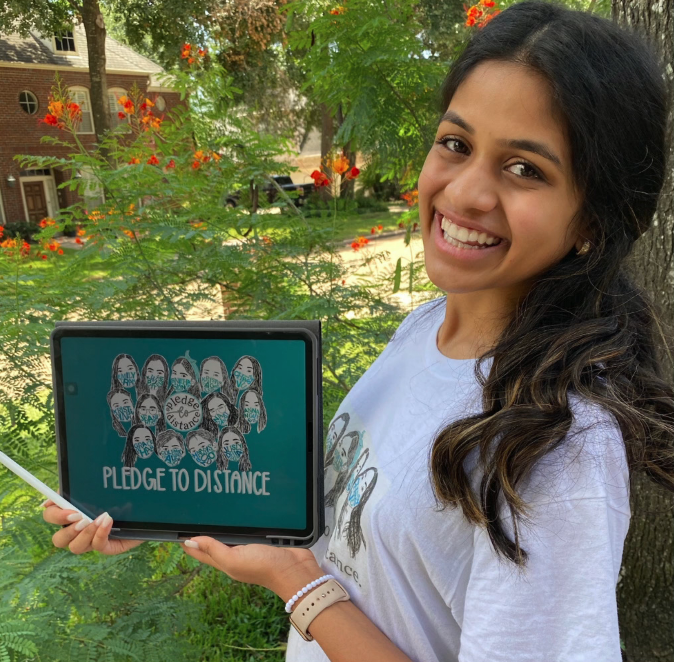 Bearkat+senior%2C+Sneha+Shenoy%2C+with+some+of+her+artwork+for+Pledge+To+Distance