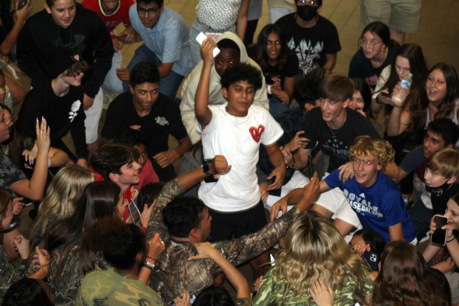 Freshmen dance the night away at the mixer.